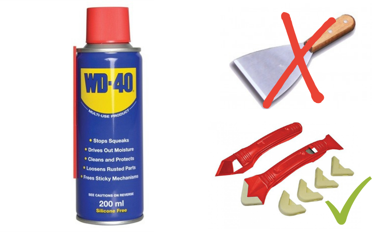 WD 40 For Silicone Removal